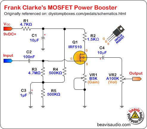 http://beavisaudio.com/schematics/Images/Frank-Clarke-MOSFET-Power-Booster-Schematic.png
